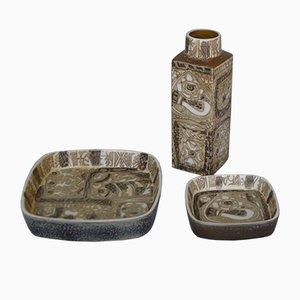 Dänische Fayence-Keramik Schalen & Vase mit Fischen von Nils Thorsson für Royal Copenhagen, 1960er, 3er-Set