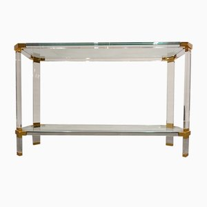 Brass & Lucite Console Table from Belgo Chrom / Dewulf Selection, 1970s
