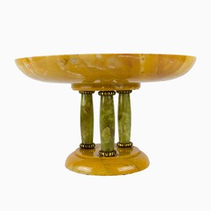 Art Deco Yellow Alabaster and Green Onyx Tazza