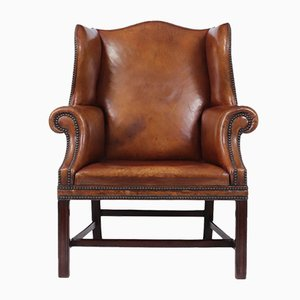 Antique Leather Wing Chair, 1930s