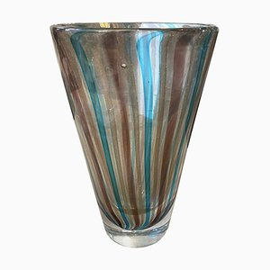 Mid-Century Modern Heavy Murano Glass Vase by Fulvio Bianconi for Venini, 1970s