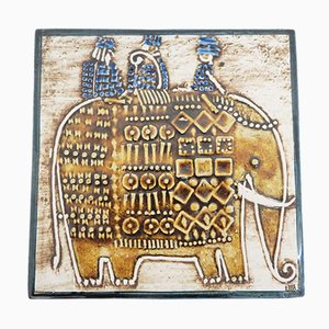 Swedish Ceramic Elephant Wall Plate by Lisa Larson for Gustavsberg, 1960s
