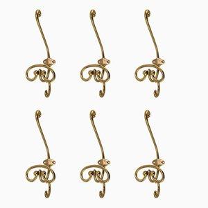 Antique Art Nouveau Coat Hooks, Set of 6