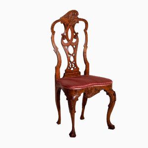 Norwegian Rococo Richly Carved Chair in Fruitwood, 1750s
