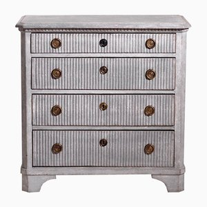 19th Century Gustavian Richly Carved Chest with 4 Drawers