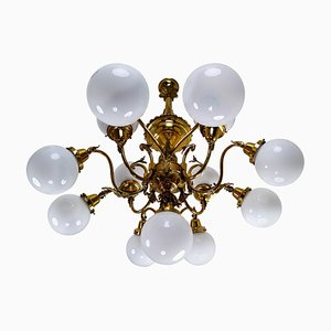 Monumental Brass National Gallery Chandelier with Opaline Glass Globes, Prague, 1920s