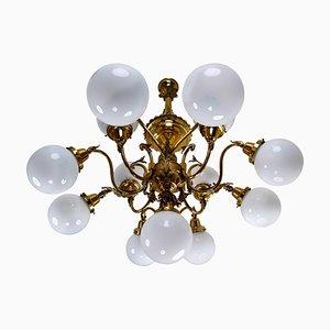 Monumental Brass National Gallery Chandelier with Opaline Glass Globes, Prague, 1920s