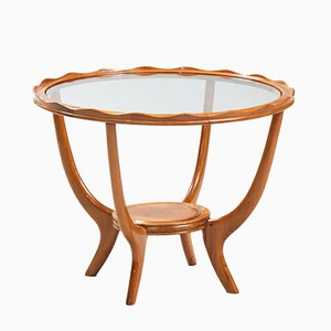 Italian Sycamore and Glass Side Table