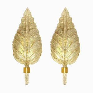 Large Gold and Murano Glass Wall Sconces from Barovier & Toso, Italy, 1960s, Set of 2