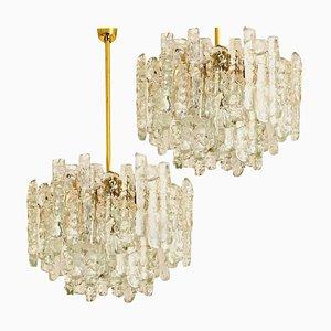 Modern Brass & Ice Glass 2-Tier Pendant Chandeliers by J.T. Kalmar, 1960s, Set of 2