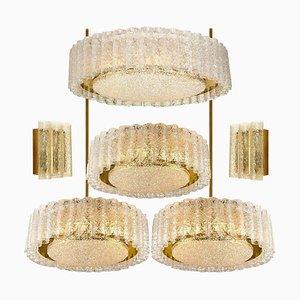 Glass Brass Light Fixtures from Doria Leuchten, Germany, 1960s, Set of 6