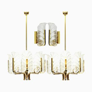Brass Light Fixtures by Carl Fagerlund for Orrefors, Sweden, 1960s, Set of 4