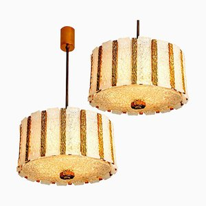 Gold-Plated Bronze Drum Light Fixtures, Austria, 1960s, Set of 2