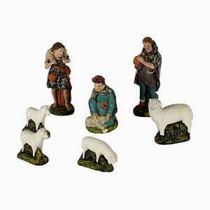 Gypsum Shepherds and Sheep Nativity Statues, Italy, 1900s, Set of 7