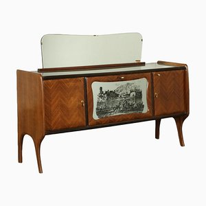 Italian Veneer & Back-Treated Glass Sideboard with Mirror, 1950s