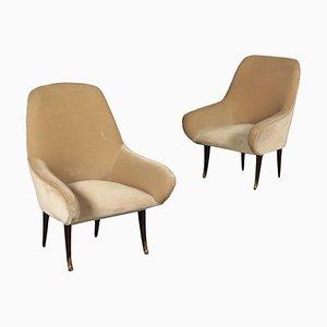 Italian Foam, Velvet & Wood Armchairs, 1950s, Set of 2