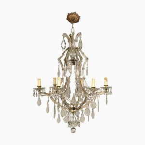Vintage Italian Maria Theresa Chandelier in Glass
