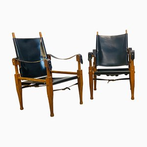 Vintage Safari Chairs in the Style of Kaare Klint, Set of 2