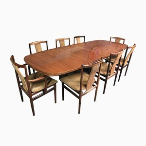 Large Rosewood Expandable Dining Table & Dining Chairs Set by Niels Møller & Folke Ohlsson