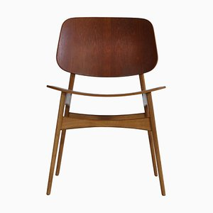 Teak & Oak Side Chair by Børge Mogensen for Søborg Møbelfabrik, 1950s