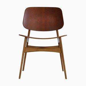 Teak & Oak Side Chair by Børge Mogensen for Søborg Møbelfabrik, 1950s
