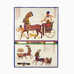 Altes Ägypten - Originales Aquarell von R. Fedi - Frühes 20. Jahrhundert Frühes 20. Jahrhundert