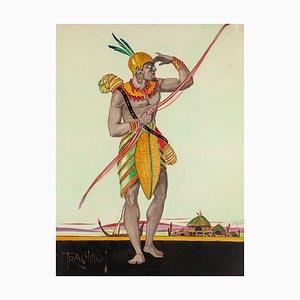 Trachino - Original Watercolor by Unknown Master - 1920s 1923 ca.