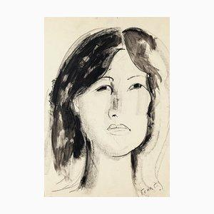 Retrato de mujer - Dibujo original de carbonilla y acuarela de F. Chapuis, años 70