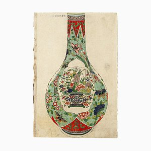 Japanese Vase - Original Watercolor on Ivory Paper - 19th Century 19th Century