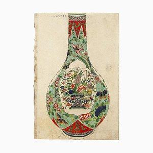 Japanische Vase - Original Aquarell auf elfenbeinfarbenem Papier - 19. Jahrhundert 19. Jh