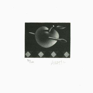 Needle in Apple - Original Radierung auf Papier von Mario Avati - 20th Century 20th Century
