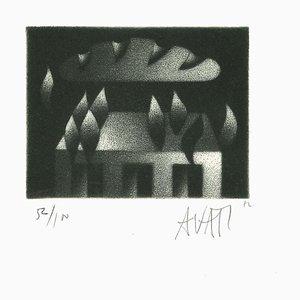 Nube Bready - aguafuerte original sobre papel de Mario Avati - años 60