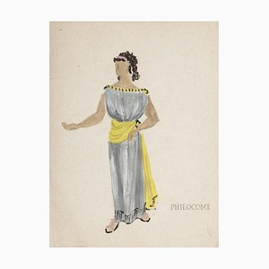 Costume - Original Tempera and Watercolor on Paper by Alkis Matheos - 1950s 1950s