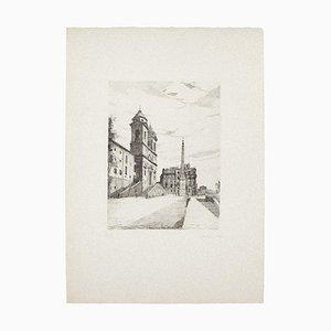 Rome, TheSpanish Steps - Original Etching on Paper by Giuseppe Malandrino -1970s 1970