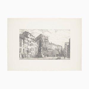 Rome, Campo dei Fiori - Original Etching on Paper by Giuseppe Malandrino - 1970s 1970s