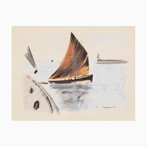 Boat - Original Ink and Watercolor Drawing - 20th Century 20th Century