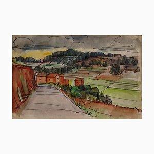 Landscape - Original Tinte und Aquarell Zeichnung von E. Pavarino - 1969 1969