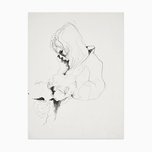Mother and Child - Original Pen Drawing by I. Pereyra - Mid 20th Century Mid 20th Century
