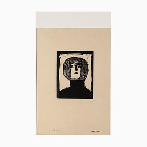 Figure - Original Woodcut Print by Amadore Porcella - Early 20th Century Early 20th Century