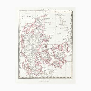 Map of Denmark - Original Etching on Paper - 19th Century 19th Century