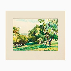 Trees - Original Watercolor Drawing by Jacques Ciry - 1970s 1970s