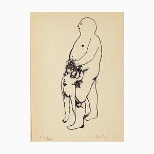 Erotische Szene - Original Lithographie von Renzo Vespignani - 1944 1944