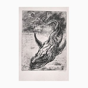 Sea Dragon - Original Etching Print by M. Chirnoaga - 1980s 1980s