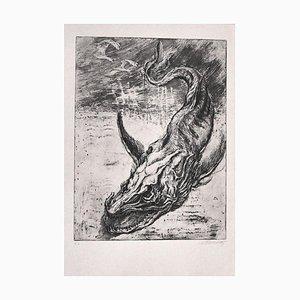 Stampa Sea Dragon - Incisione originale di M. Chirnoaga - anni '80