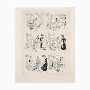 Maleratelier - Original China Tuschezeichnung von F. Godefroy - Spätes 19. Jahrhundert, 19. Jh