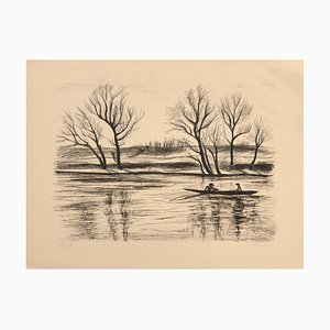 River - Litografia originale su carta di Pierre Frachon-Forcade - XX secolo