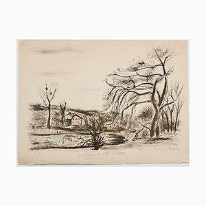 Landscape - Original Lithograph by Pierre Frachon-Forcade - 20th Century 20th Century