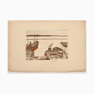 Port - Original Lithograph by Pierre Frachon-Forcade - 20th Century 20th Century