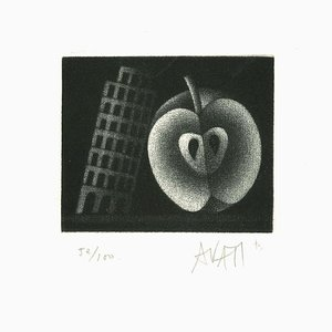Apple and Tower - Original Etching on Paper by Mario Avati - 1960s 1960s