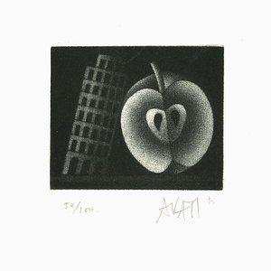 Apple and Tower - Original Radierung auf Papier von Mario Avati - 1960er 1960er